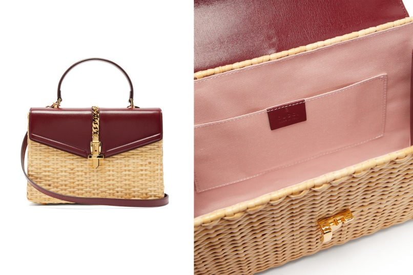 Gucci Sylvie wicker and leather bag
