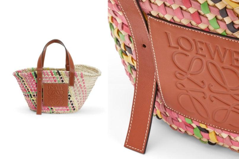 Loewe basket bag pink multitone