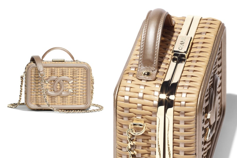 Chanel rattan small vanity case