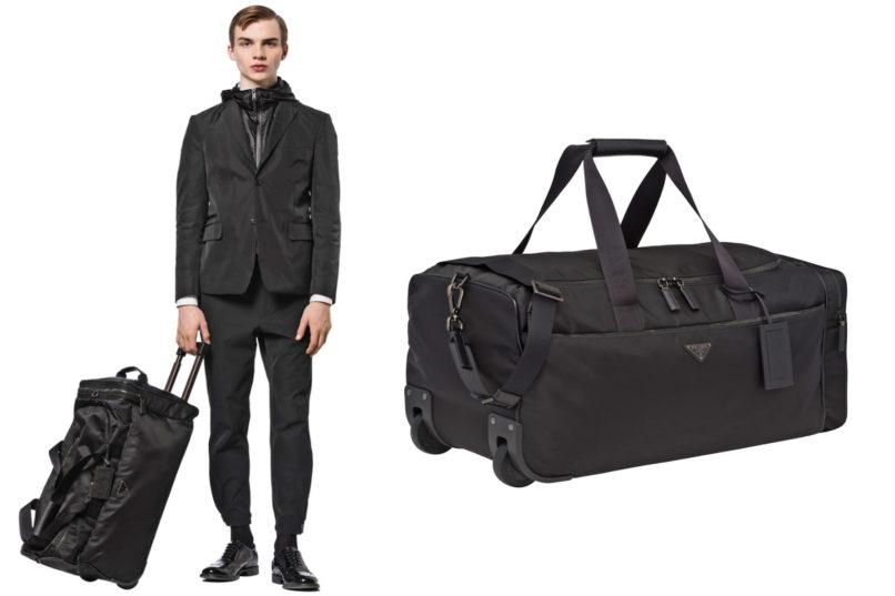 Prada leather wheeled carry-on bag