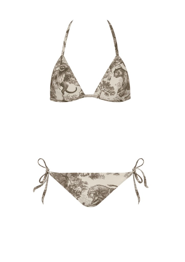 "Bikini set in ""Toile de Jouy"" print viscose"