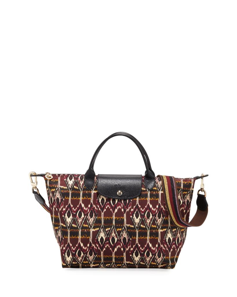 Longchamp Le Pliage Medium Ikat Top-Handle Tote Bag In Burgundy
