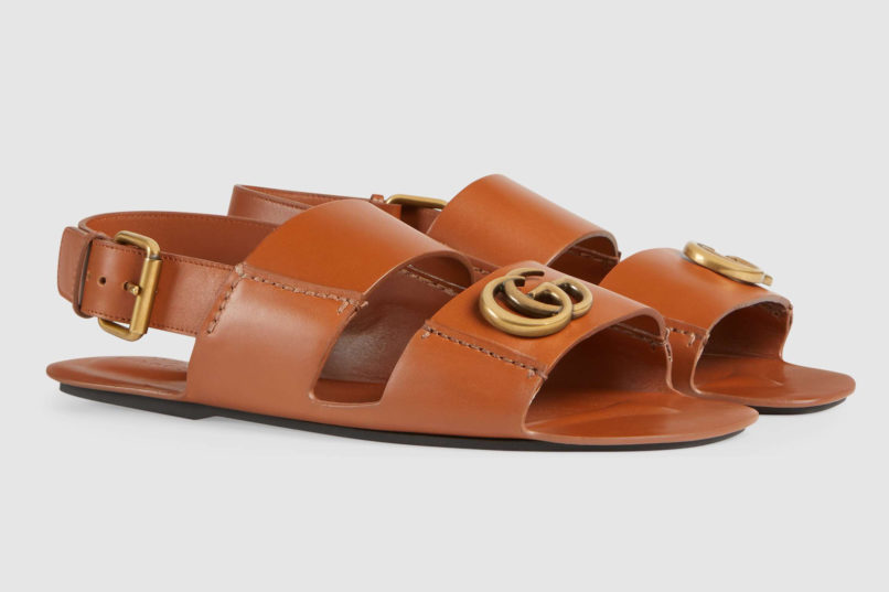 Men's leather sandal with double g logo