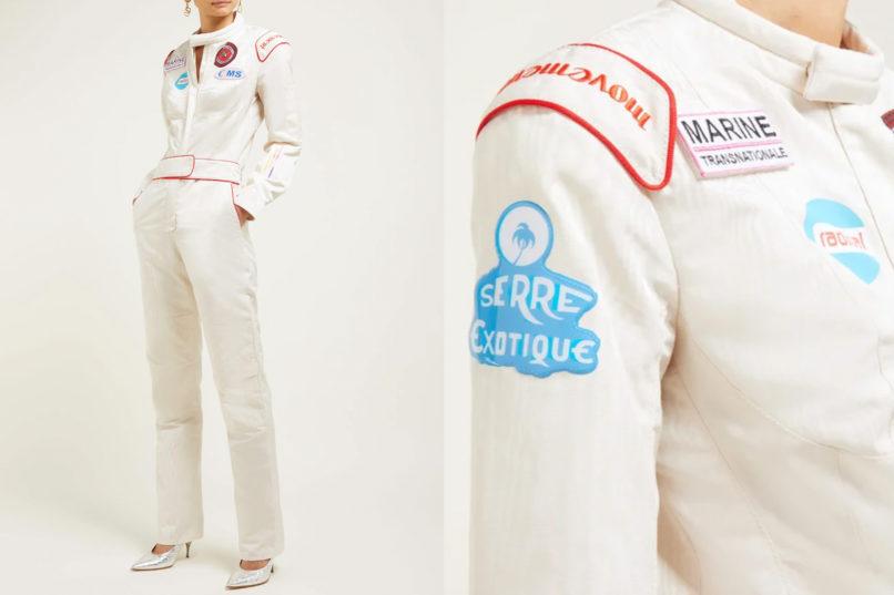 Marine Serre F1 logo patch moire jumpsuit