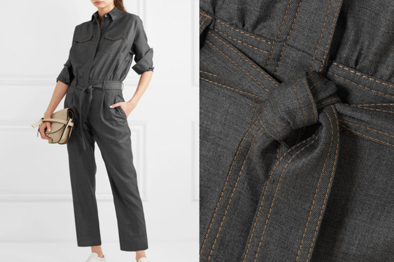Brunello Cucinelli bead-embellished belted wool jumpsuit