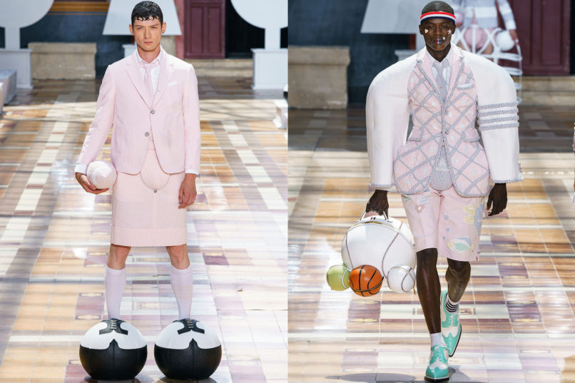 Runway looks from Thom Browne SS2020 menswear collection