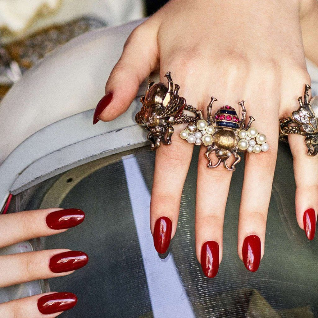 Gucci's Bee ring with crystals and pearls