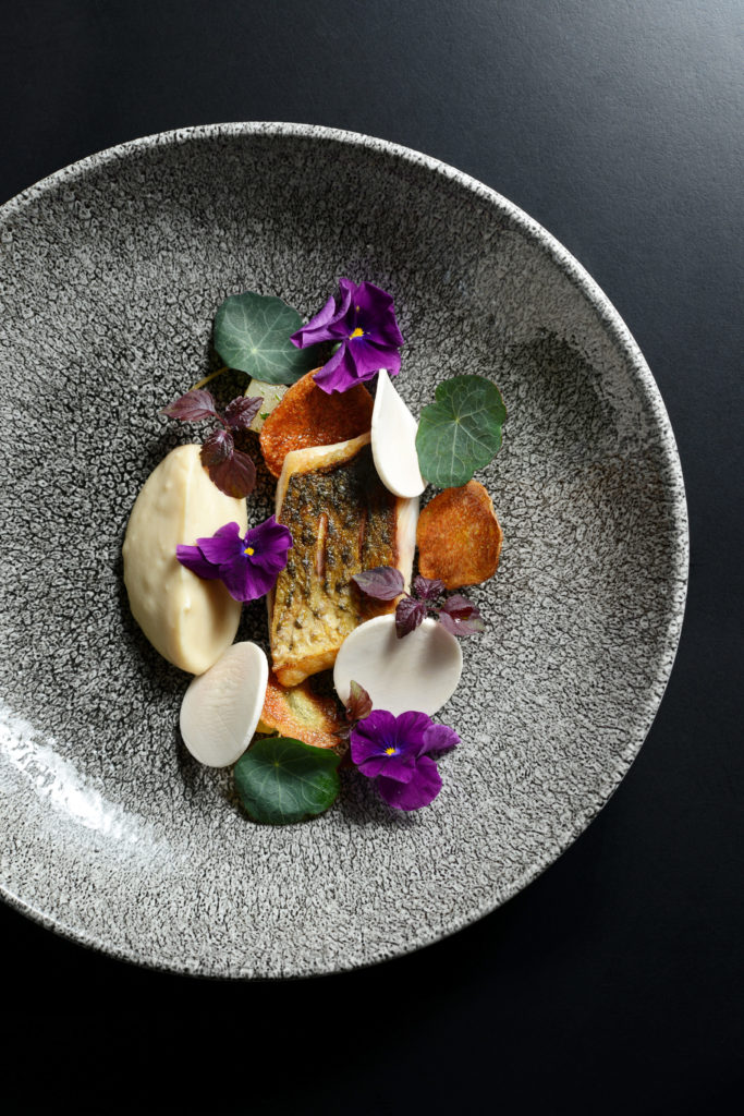 Fish (stripped bass here) and mushrooms are two important components of Pierre Sang's cuisine - Photography by Nicolas Villion