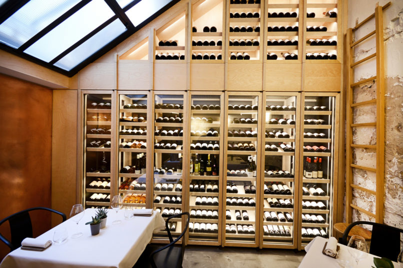 The wine cellar is available at his Pierre-Sang Signature location, on rue Gambey - photography by Nicolas Villion