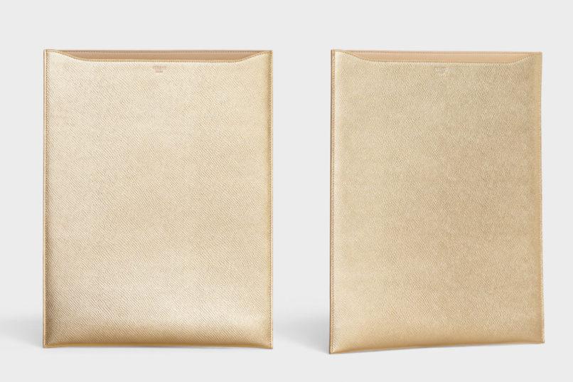 Celine gold laminated calfskin tablet sleeve
