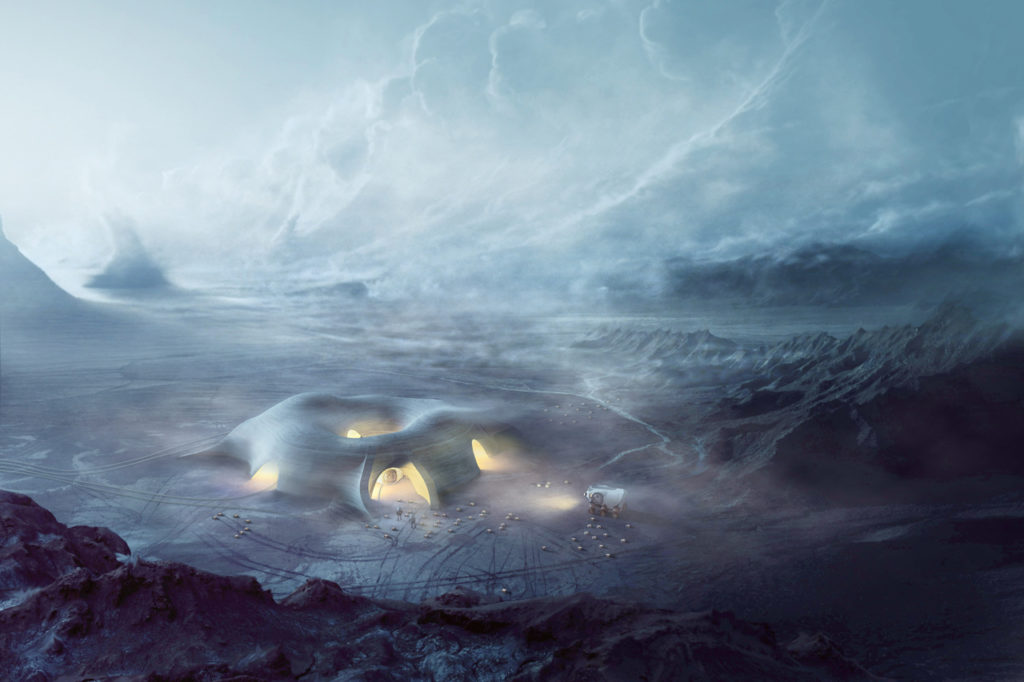 Render preview of the Martian human installations - photo courtesy of Hassell Studios