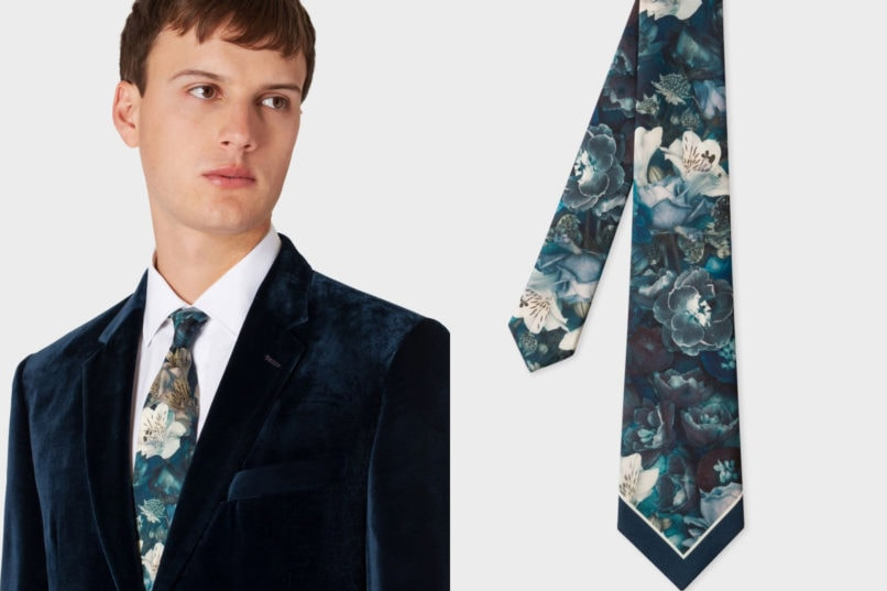 Paul Smith blue floral painting necktie