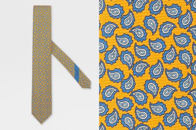 Ermenegildo Zegna yellow silk tie