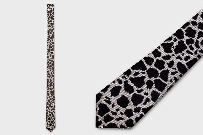 Celine pointed tip tie in marbled print silk