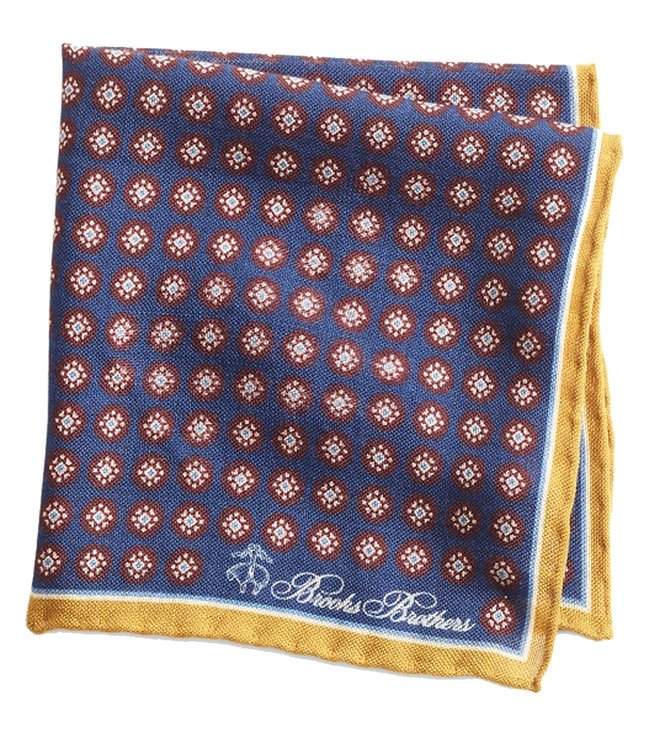 Brooks Brothers Navy Medallion Pocket Square