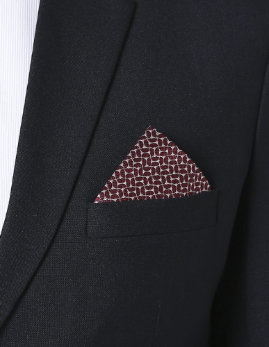 Emporio Armani Bordeaux & Grigio Silk Pocket Square