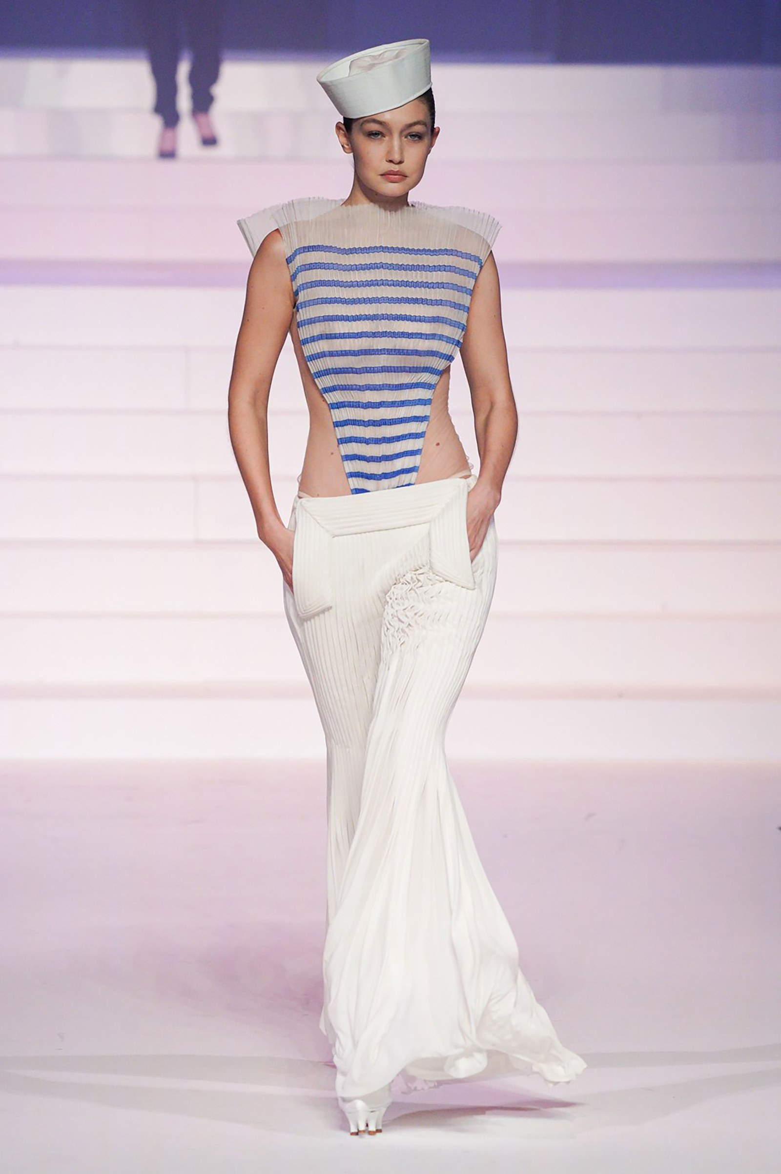Gigi Hadid at Jean-Paul Gaultier SS20 Haute Couture (Photo credit: Jean-Paul Gaultier)
