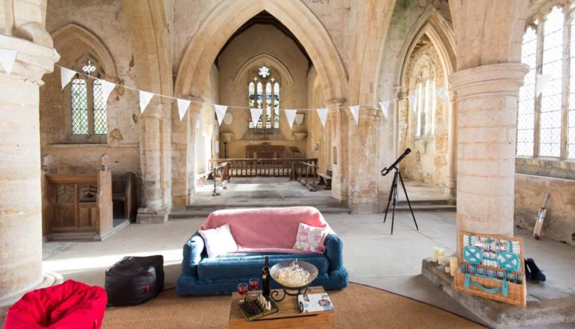 champing church camping england