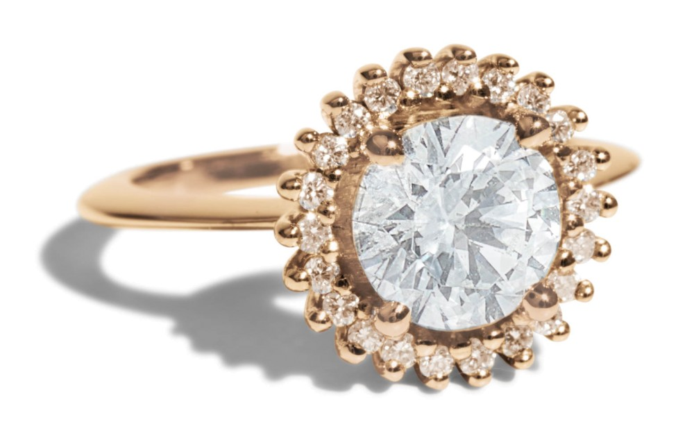 Stellium Diamond with Champagne Halo Ring, Bario Neal (Photo credit: Bario Neal)