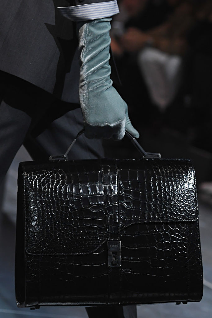 A sleek suitcase at Dior Homme Fall 2020 runway. Image: Courtesy Getty