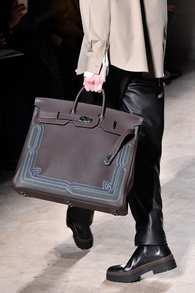 Hand painted classic at Hermes Fall 2020. Image: Courtesy Getty