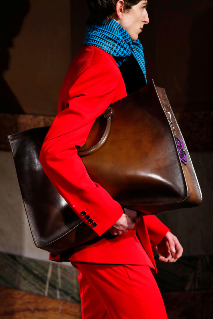 Over sized leather totes at Berluti Fall 2020. Image: Courtesy Getty